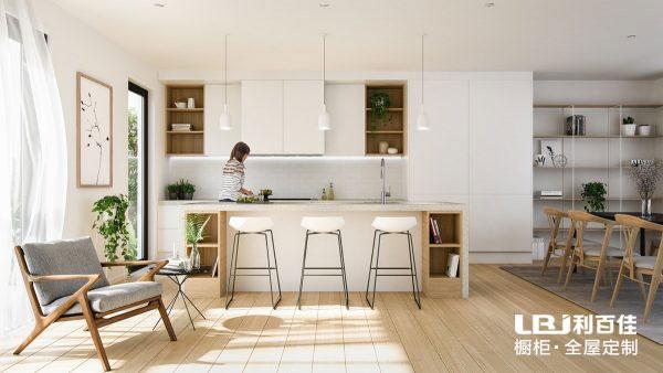 一套简约的整体橱柜,让厨房更具有时尚空间感